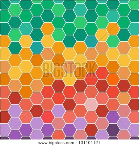 Abstract illustration with hexagonal colored honey cells. Digital vetor image.