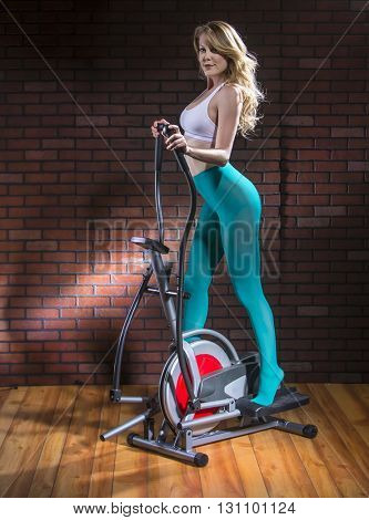 Model working out in a home environment