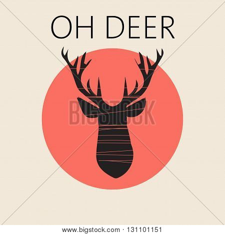 Head of deer in outline over a red round frame. Digital vector image.