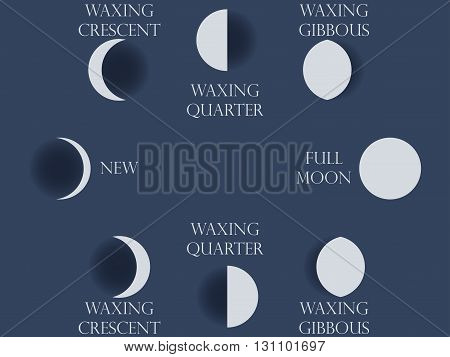Moon Phases. The Whole Cycle From New Moon To Full. Vector Illustration.