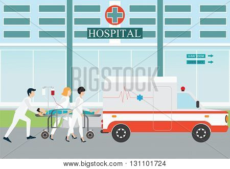 Ambulance emergency medical evacuation accident with carry patient bed on hospital background vector illustration.