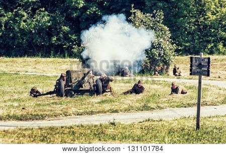 NITRA SLOVAK REPUBLIC - MAY 21: Reconstruction of the Second World War operations between Red and German army russian artillery attacks enemy positions on May 21 2016 in Nitra Slovak Republic.
