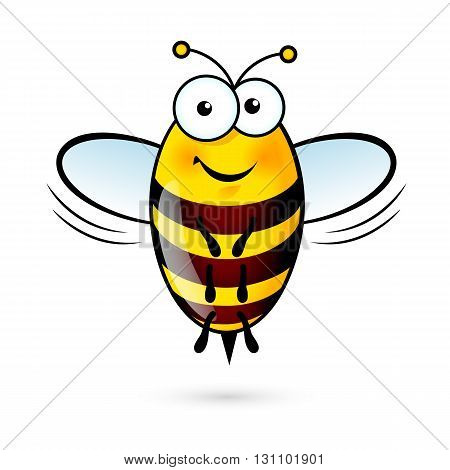 Illustration of a Friendly Cute Bee on White Background