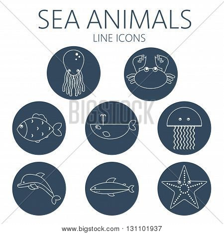Black sea animal set in outlines with octopus crab fish penguin shark whale jellyfish and starfish. Digital vector image.