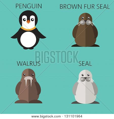 Abstract illustration with sea animals set a penguin walrus brown fur walrus and seal over a green background. Digital vector image.