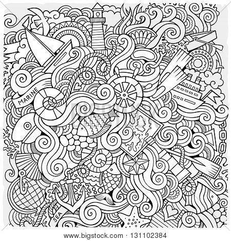 Cartoon hand-drawn doodles nautical, marine illustration. Sketchy detailed, with lots of objects vector background