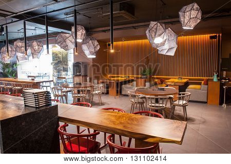 Elegant restaurant with modern tables and chairs