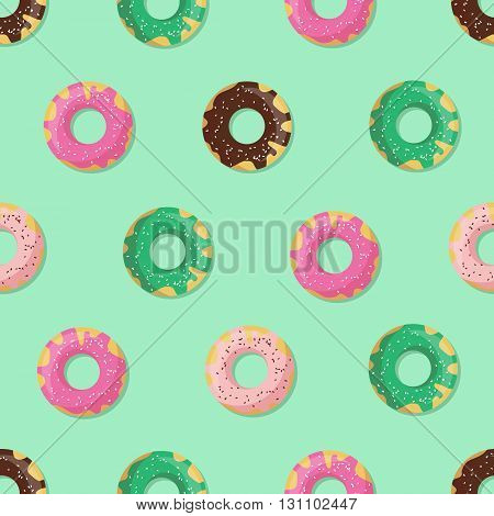 Seamless doughnut or donut pattern. Design for cards menu textile fabric. Glazed sweets with chocolate vanilla strawberry and mint cream