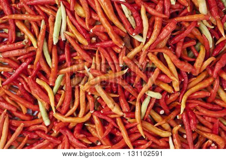 Fresh red chili peppers in the market.
