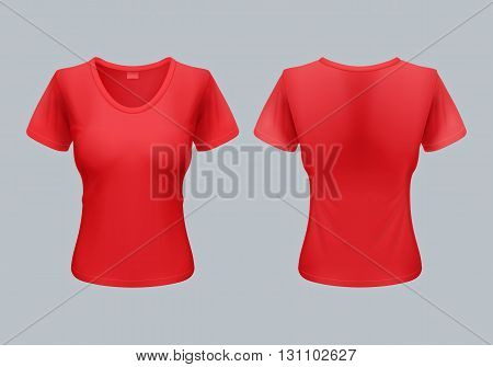 Women T-Shirt Template Back and Front Views in Red