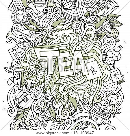 Tea hand lettering and doodles elements background. Vector illustration