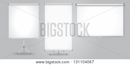 Blank Promotion Stand and roll up banners set. Vector advertising template