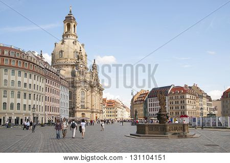 Germany, Dresden - July 11, 2012: The Church Of Our Lady And New Market Square..