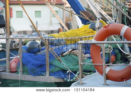 Fishing gear on the deck of the boat.