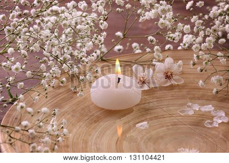 Candle with blooming branches in wooden bowl