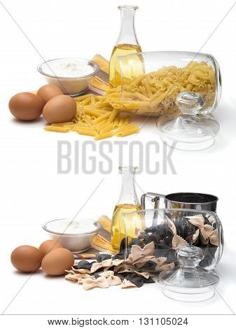 Set of different noodles cereals and pasta for cooking butter eggs and flour-the main ingredients of noodles the store of food in the kitchen. Still life of food on a white background.