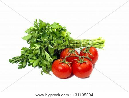 linking of parsley and bunch of tomatoes isolate subject products