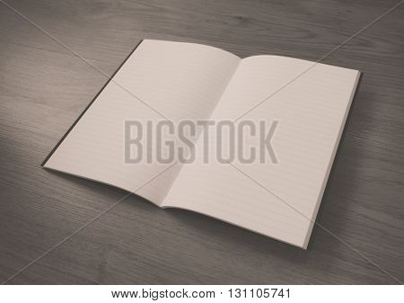 Blank catalog, magazines,book mock up on wood background ,Filtered image processed black and white effect.