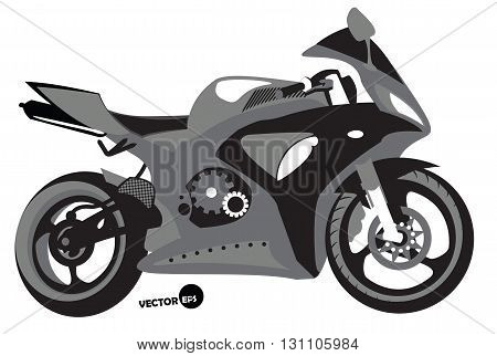 Sportbike silhouette transport for speed and extreme sports motocross. Motorcycle sports body kit monochrome vector isolated.