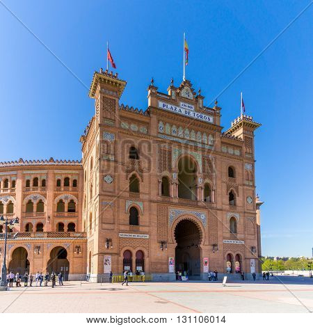 MADRID,SPAIN - APRIL 25,2016 - Plaza de Toros de Las Ventas is a famous bullring located in Madrid. It has a seating capacity of 25 000 peoples.