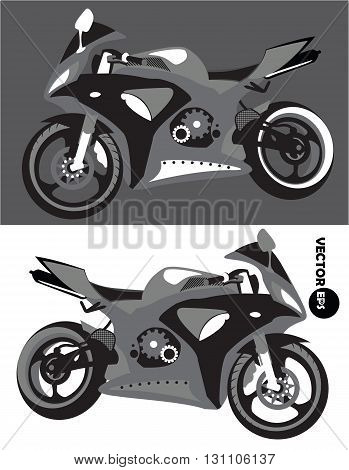 Motorcycle sports body kit monochrome vector isolated on black and white background. Motorbike. Sportbike. Transport for bikers. Motoclub.