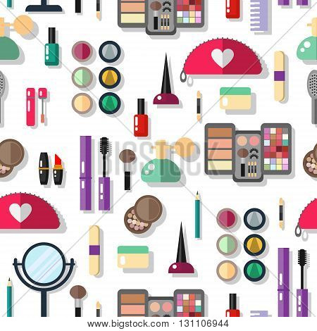Seamless background with cosmetics flat icons. Seamless pattern make up objects for print - vector illustration. Flat cosmetics make up. Isolated cosmetic.