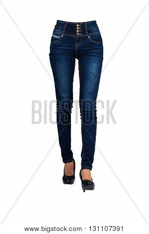 Woman blue jeans isolated section below on white background with clipping path