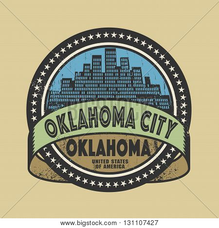 Grunge rubber stamp or label with name of Oklahoma City, Oklahoma, vector illustration
