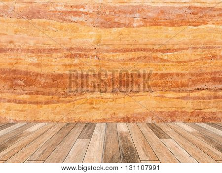 Stone Wall With Wood Floor In Front Off