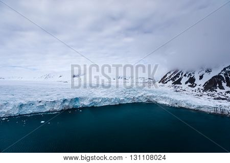 Hansbreen glacier located in the Southern Spitsbergen, Arctic