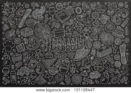 Line art chalkboard vector hand drawn doodle cartoon set of italian cuisine objects and symbols