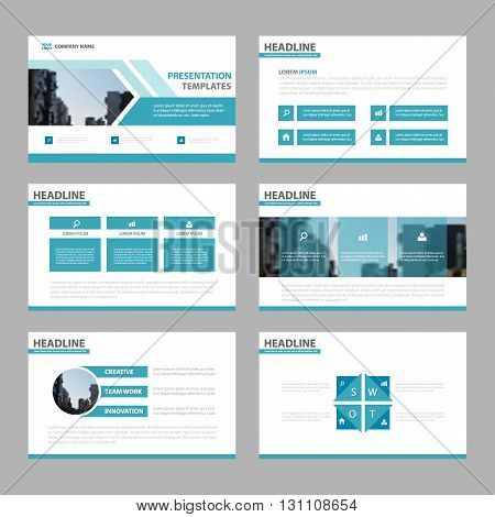 Blue multipurpose presentation templates Infographic elements flat design set for brochure flyer leaflet marketing advertising