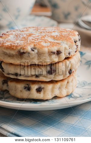 Welsh cakes a traditional griddle cake made with flour and dried fruit then baked on a griddle
