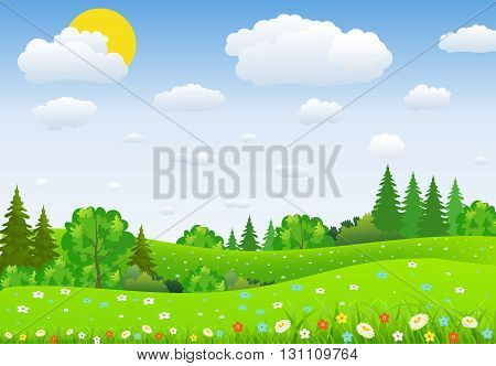 Summer landscape with meadows and flowers. forest, nature landscape, vector background. vector illustration in flat design