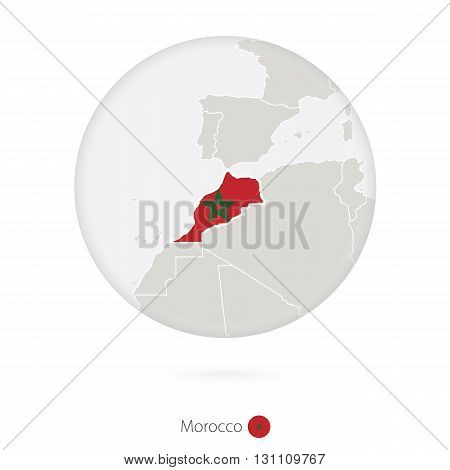 Map Of Morocco And National Flag In A Circle.