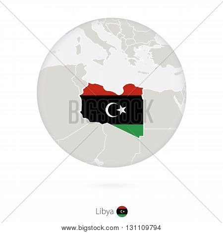 Map Of Libya And National Flag In A Circle.