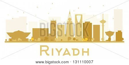 Riyadh City skyline golden silhouette. Simple flat concept for tourism presentation, banner, placard or web site. Riyadh isolated on white background