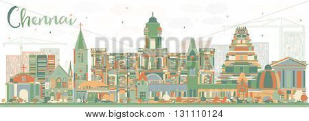 Abstract Chennai Skyline with Color Landmarks. Business Travel and Tourism Concept with Historic Buildings. Image for Presentation Banner Placard and Web Site.