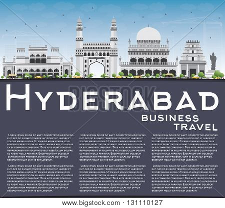 Hyderabad Skyline with Gray Landmarks, Blue Sky and Copy Space. Business Travel and Tourism Concept with Historic Buildings. Image for Presentation Banner Placard and Web Site.