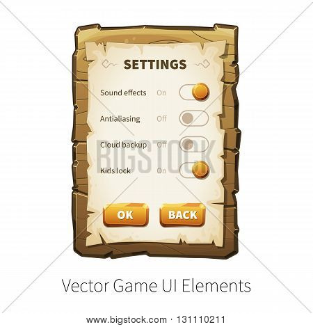 Game settings screen. Options and preferences. Vector graphical user interface UI GUI for 2d video games. Wooden menu, panels and buttons for menu.