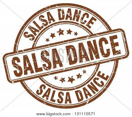 Salsa Dance Brown Grunge Round Vintage Rubber Stamp.salsa Dance Stamp.salsa Dance Round Stamp.salsa