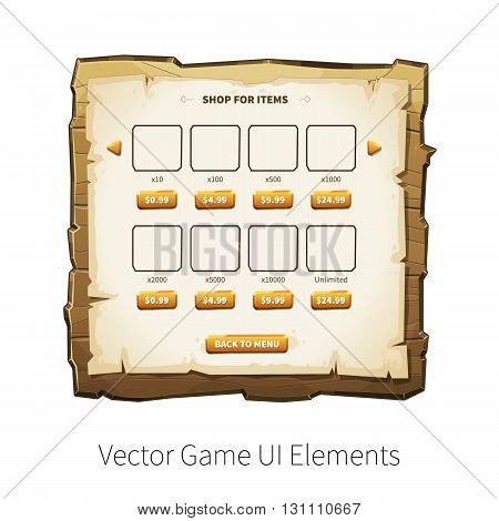 In-app purchase screen. Vector graphical user interface UI GUI for 2d video games. Wooden menu, panels and buttons for menu.