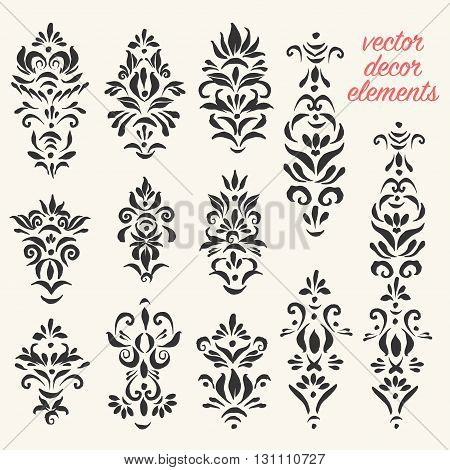 Set of vector decorative elements for page illumination.
