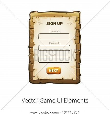 Sign up dialog. Sign in. Register. Vector graphical user interface UI GUI for 2d video games. Wooden menu, panels and buttons for menu.
