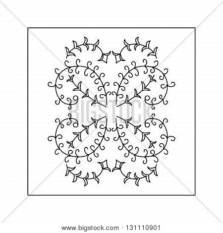 Abstract  floral pattern with curved twig. Decorative element.