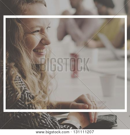 Business Girl Happiness Frame Graphic Concept