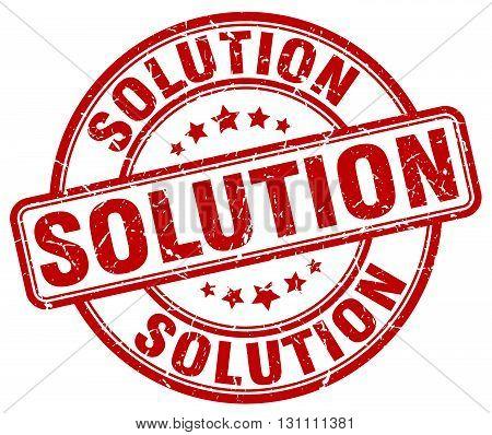 Solution Red Grunge Round Vintage Rubber Stamp.solution Stamp.solution Round Stamp.solution Grunge S