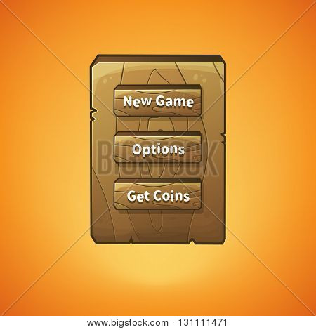 Vector graphical user interface UI GUI for 2d video games. Wooden menu, panels and buttons for menu.
