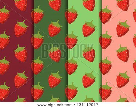 Strawberries Seamless Pattern. Set Of Vector Patterns With Strawberries. Vector Background.