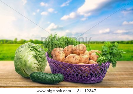 Vegetables on the table on natural background